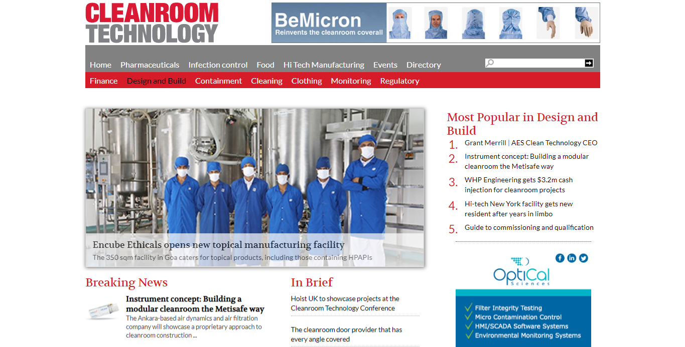 Metisafe is on Cleanroom Technology News
