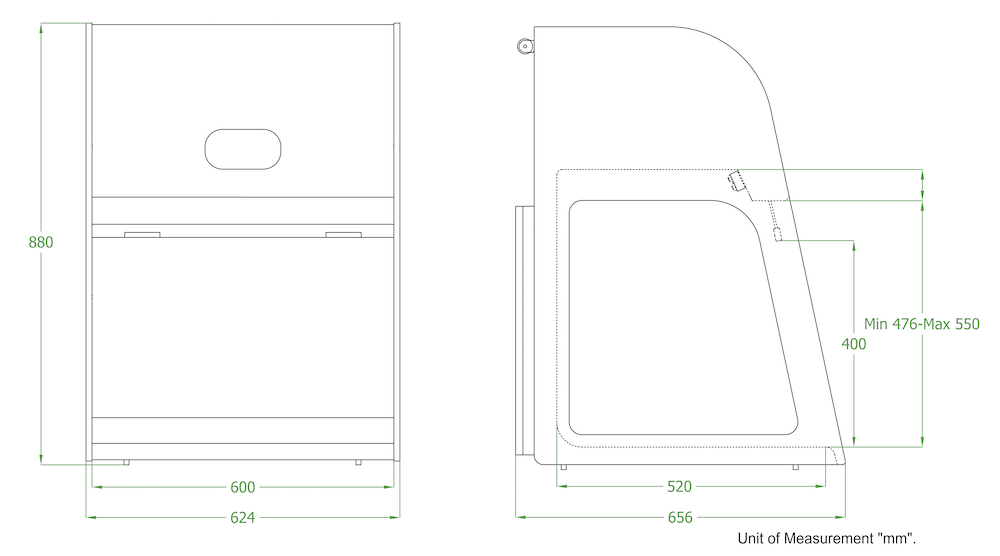 Metisafe PCR Workstation Technical Drawing