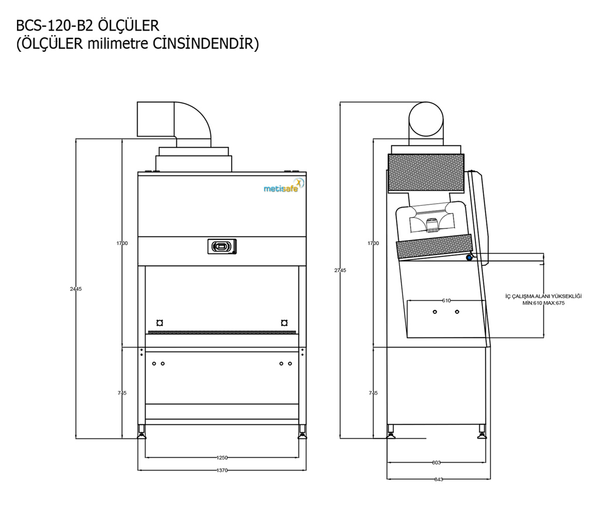 Metisafe Cytotoxic Cabinet Technical Drawing