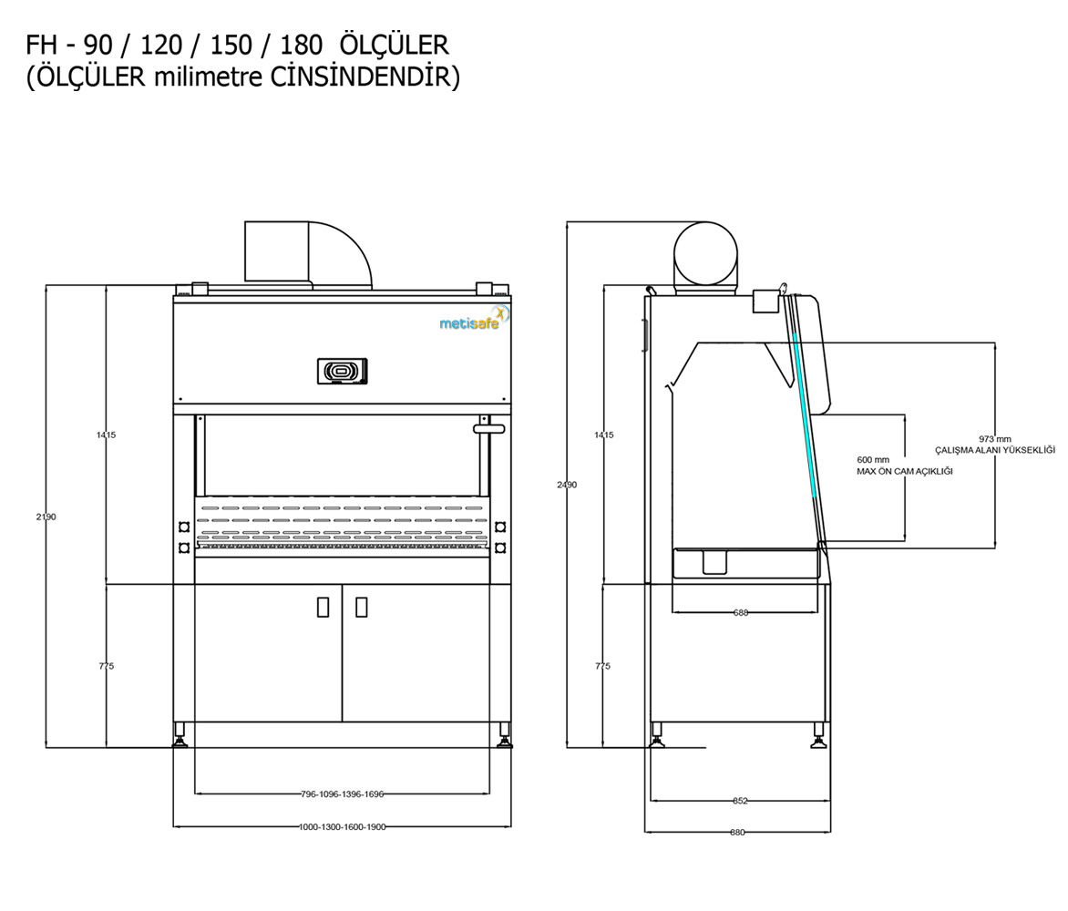 Metisafe Fume Hood Technical Drawing