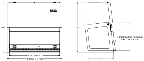 Metisafe LAF Cabinet Technical Drawing C Series